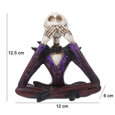 Creative Sitting Skull Statues Shut Up Figurine Home Office Desk Decor Halloween Party Scary Ornament Decoration Statue A (Do Not Talk)
