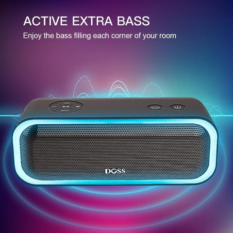 Image of DOSS SoundBox Pro Bluetooth Speaker with Flashing LED And IPX5 Waterproof Black