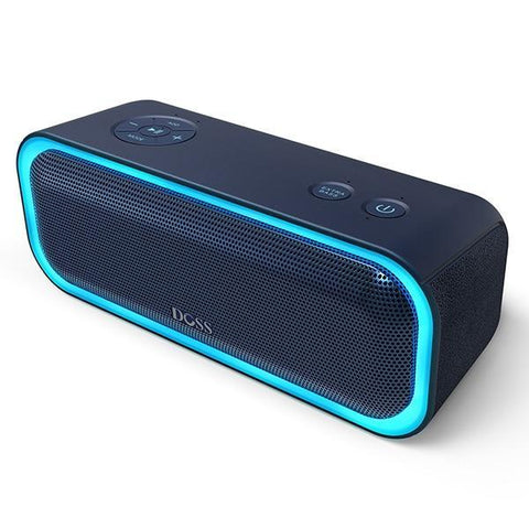 Image of DOSS SoundBox Pro Bluetooth Speaker with Flashing LED And IPX5 Waterproof Blue