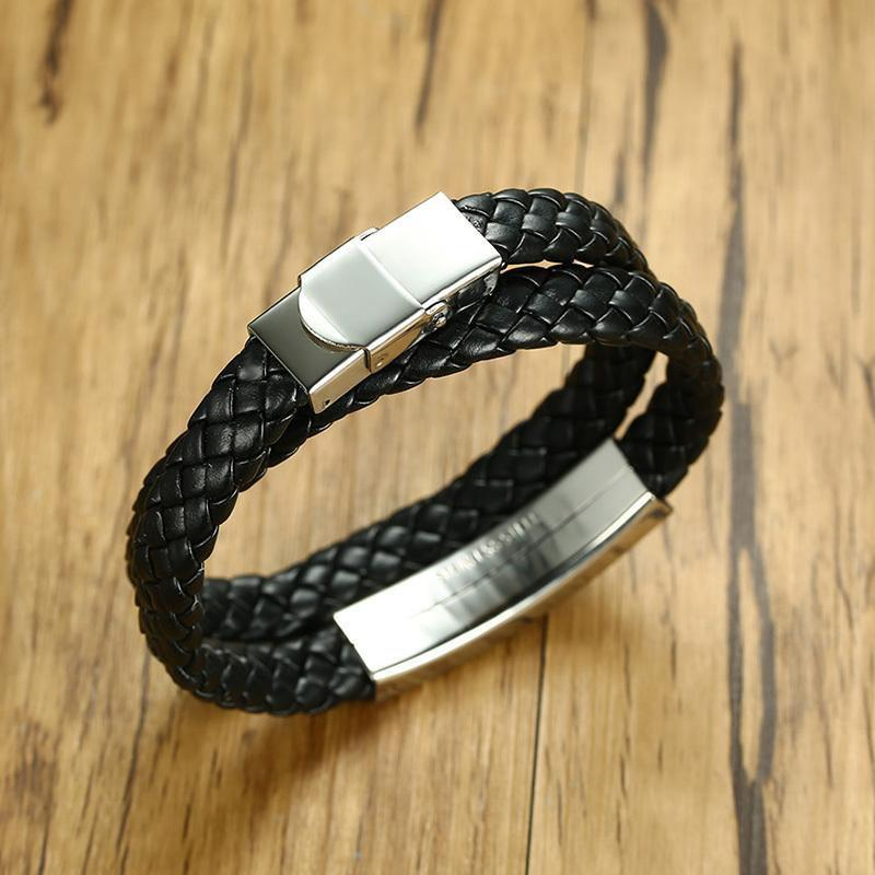 Double Circle Braided Leather Bangle Casual Female Jewelry with Free Engraving Cuff Bracelets VNOX official store
