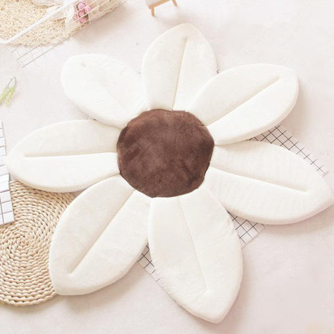Image of Flower Shape Sponge Baby Bath Cushion white / 80cm joeypatch