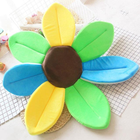 Image of Flower Shape Sponge Baby Bath Cushion Yellowgreenblue / 80cm joeypatch