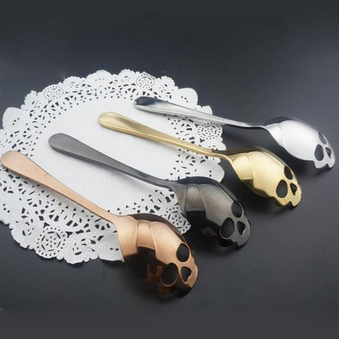 Home 15.1*3.4*0.25cm Skull Shaped Spoon Stainless Steel Coffee Spoons Dessert Ice Cream Sweets Teaspoon B
