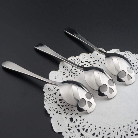 Image of Home 15.1*3.4*0.25cm Skull Shaped Spoon Stainless Steel Coffee Spoons Dessert Ice Cream Sweets Teaspoon B