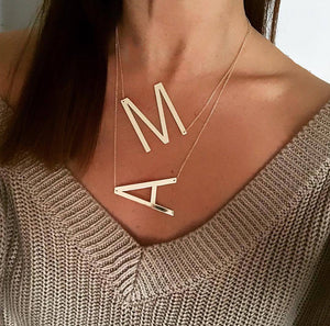 Initial Letter A - Z Shape Classic Alphabet Big Letter Necklace A / Gold
