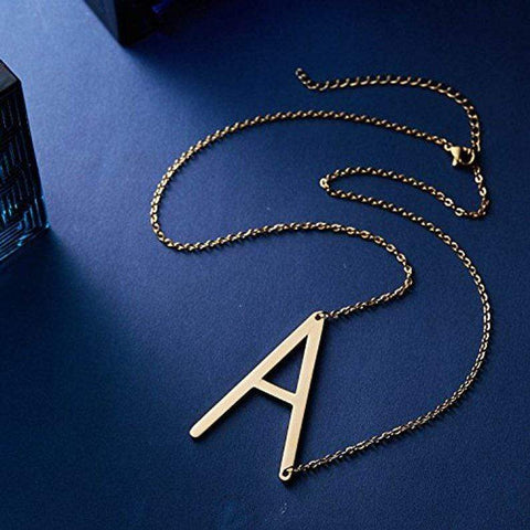 Image of Initial Letter A - Z Shape Classic Alphabet Letter Necklace Gold-color / A