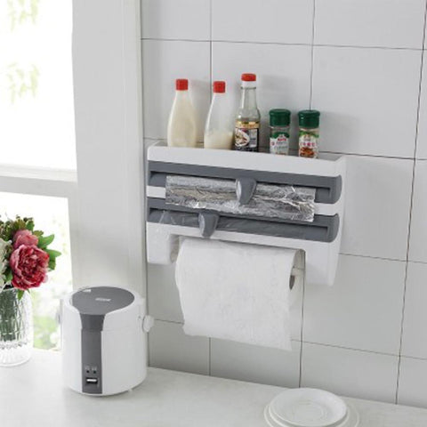 Image of Kitchen Cling Film Storage Rack Wrap Cutter Refrigerator Wall Hanging Paper Towel Holder Multifunction Home Organizer Gray