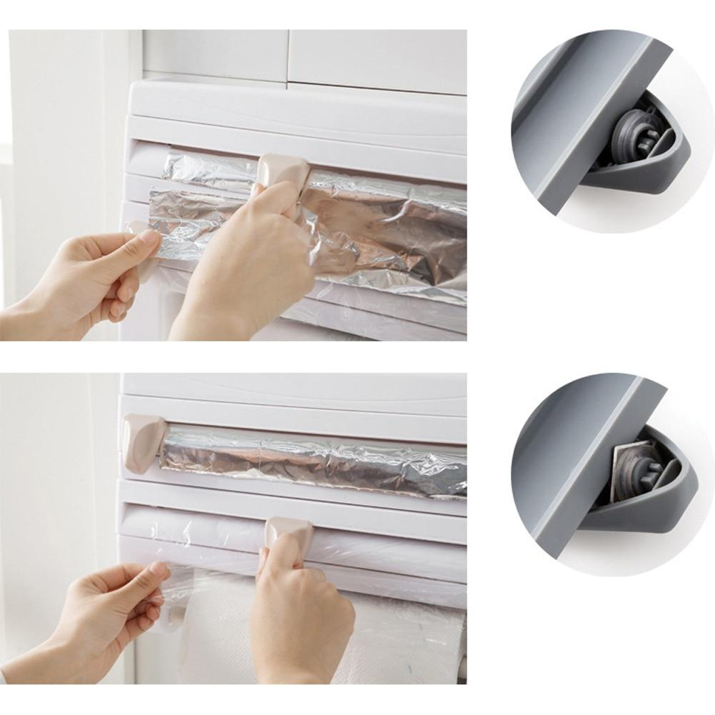Kitchen Cling Film Storage Rack Wrap Cutter Refrigerator Wall Hanging Paper Towel Holder Multifunction Home Organizer Gray