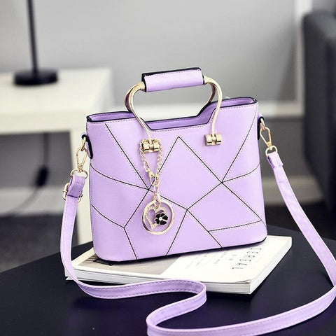 Image of Ladies' PU Leather Luxury Designer Shoulder Bags Shoulder Bags Lavender SDRUIAO franchise Store