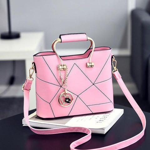 Image of Ladies' PU Leather Luxury Designer Shoulder Bags Shoulder Bags Pink SDRUIAO franchise Store