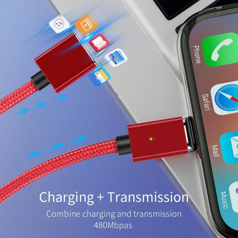 Magnetic USB Cable for iPhone and Android Mobile Phone Black iOS Cable / 1m