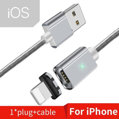 Magnetic USB Cable for iPhone and Android Mobile Phone Silver iOS Cable / 1m