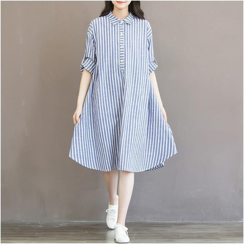 Maternity T-shirt Style Long Sleeve Striped Dress For Pregnant Women joeypatch