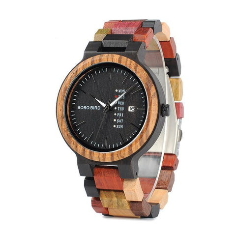 Men's Wood Watch Timepiece with Date and Week Display Quartz Watches BOBO BIRD Factory store