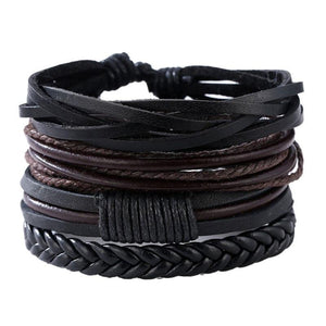 Mens leather bracelets Charm Bracelets Black Fashional Pro Store