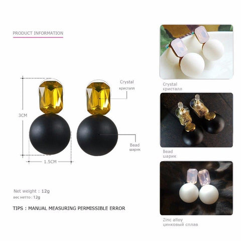 Image of Minimalist Weight Stud Crystal Earring  e-Manco Official Store