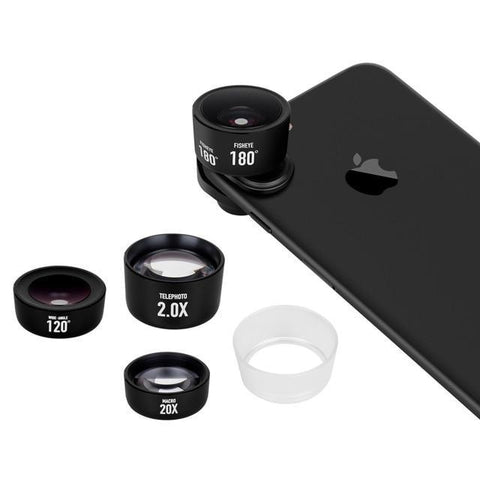 Image of Momax 4 in 1 Mobile Phones Front Back Fisheye Kits Wide Angle Macro Camera Lentes Phone Camera lens for iPhone 5 6 7 8 6S Plus Black joeypatch