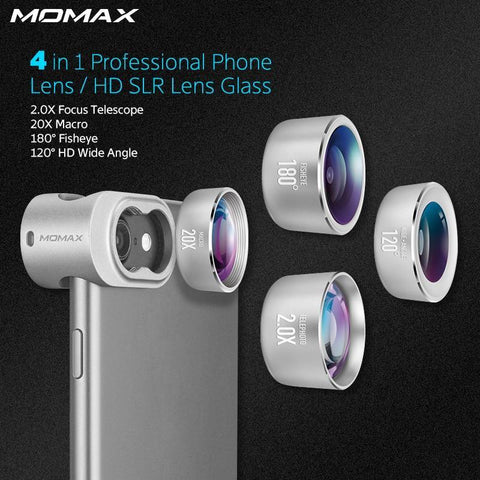 Image of Momax 4 in 1 Mobile Phones Front Back Fisheye Kits Wide Angle Macro Camera Lentes Phone Camera lens for iPhone 5 6 7 8 6S Plus joeypatch