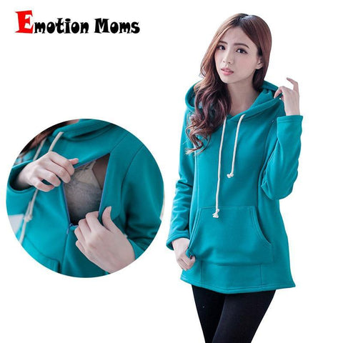 Moms Maternity Nursing tops for Pregnant Women Breastfeeding Hoodie Blue / M