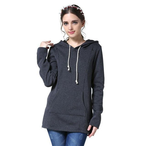 Moms Maternity Nursing tops for Pregnant Women Breastfeeding Hoodie Dark Grey / M