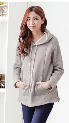 Moms Maternity Nursing tops for Pregnant Women Breastfeeding Hoodie Gray / M