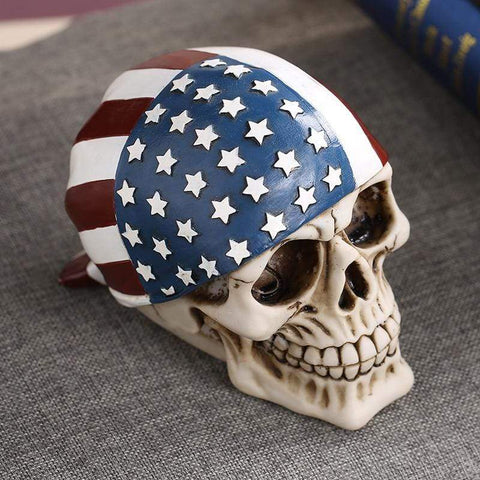 Image of MRZOOT Resin Craft Home Decorations Skeleton Skull American Flag Personalized Ornaments Fashion Decor