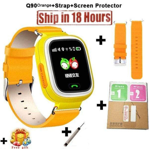 New Arrival Q90 GPS Phone Positioning Fashion Children Watch 1.22 Inch Color Touch Screen WIFI SOS Smart Watch PK Q80 Q50 Q60 Add Strap Protector / Wifi English Version