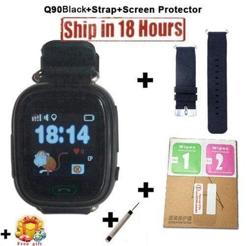 New Arrival Q90 GPS Phone Positioning Fashion Children Watch 1.22 Inch Color Touch Screen WIFI SOS Smart Watch PK Q80 Q50 Q60 Add Strap Protector10 / Wifi English Version
