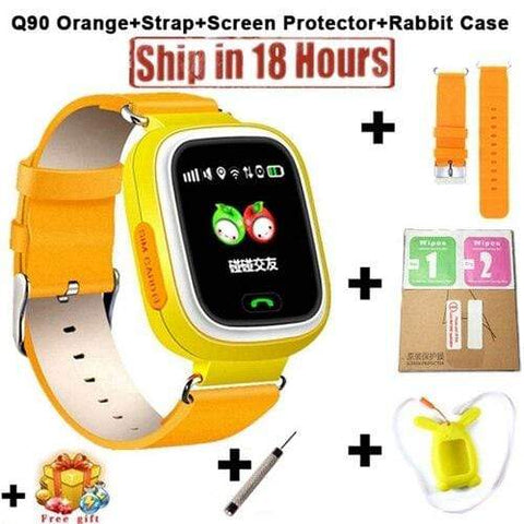 New Arrival Q90 GPS Phone Positioning Fashion Children Watch 1.22 Inch Color Touch Screen WIFI SOS Smart Watch PK Q80 Q50 Q60 Add Strap Protector3 / Wifi English Version