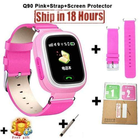 New Arrival Q90 GPS Phone Positioning Fashion Children Watch 1.22 Inch Color Touch Screen WIFI SOS Smart Watch PK Q80 Q50 Q60 Add Strap Protector4 / Wifi English Version