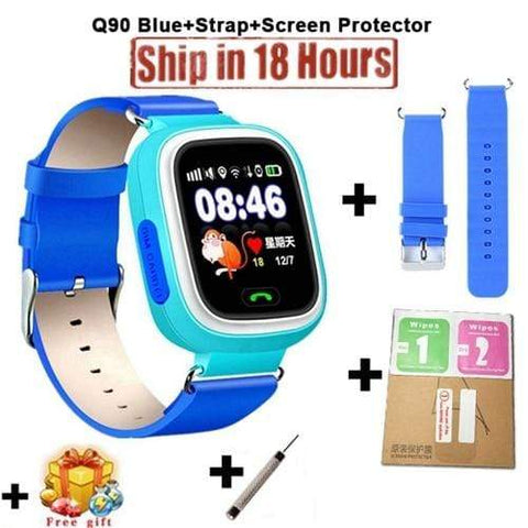 New Arrival Q90 GPS Phone Positioning Fashion Children Watch 1.22 Inch Color Touch Screen WIFI SOS Smart Watch PK Q80 Q50 Q60 Add Strap Protector7 / Wifi English Version