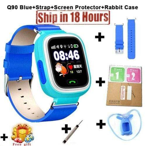 New Arrival Q90 GPS Phone Positioning Fashion Children Watch 1.22 Inch Color Touch Screen WIFI SOS Smart Watch PK Q80 Q50 Q60 Add Strap Protector9 / Wifi English Version
