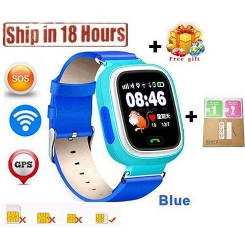 New Arrival Q90 GPS Phone Positioning Fashion Children Watch 1.22 Inch Color Touch Screen WIFI SOS Smart Watch PK Q80 Q50 Q60 Blue / Wifi English Version