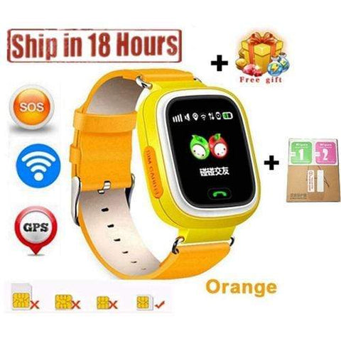 New Arrival Q90 GPS Phone Positioning Fashion Children Watch 1.22 Inch Color Touch Screen WIFI SOS Smart Watch PK Q80 Q50 Q60 Orange / Wifi English Version