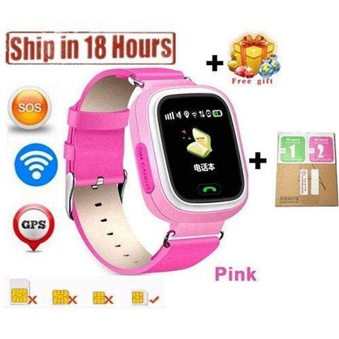 New Arrival Q90 GPS Phone Positioning Fashion Children Watch 1.22 Inch Color Touch Screen WIFI SOS Smart Watch PK Q80 Q50 Q60 Pink12 / Wifi English Version