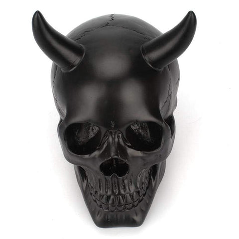 New creative Resin Ox Horn Black Skull Ornaments for Bar Home Decoration Desktop Bone Skull Head Halloween Art Carving Statues