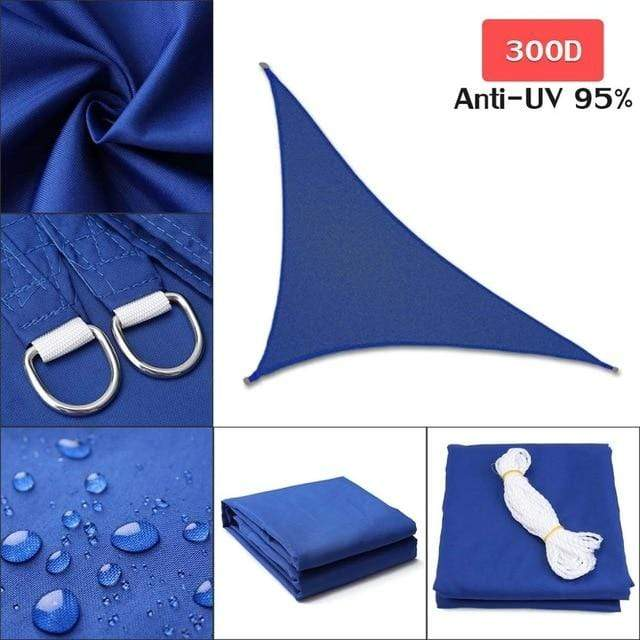 Outdoor Waterproof Sun Shade Sail For Garden Patio Pool Camping Picnic Tent Blue  4x4x5.7