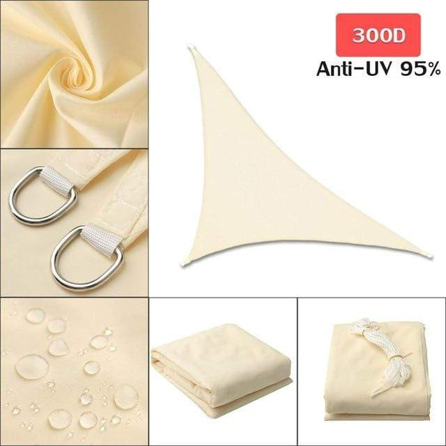 Outdoor Waterproof Sun Shade Sail For Garden Patio Pool Camping Picnic Tent Light Beige 3x3x4.3