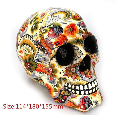 Image of Pattern Colorful Resin Skull Statue Halloween Horror Skull Ornament Modern Creative Personality Home Decoration