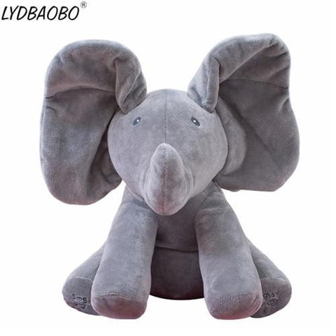 Peek A Boo Music Playing Stuffed Elephant Plush Doll Gray joeypatch