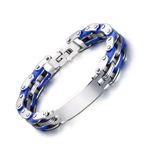 Personalized Engrave Bike Colourful Stainless Steel Chain Link Bracelets ID Bracelets Blue VNOX official store