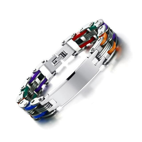 Personalized Engrave Bike Colourful Stainless Steel Chain Link Bracelets ID Bracelets Multicolor VNOX official store