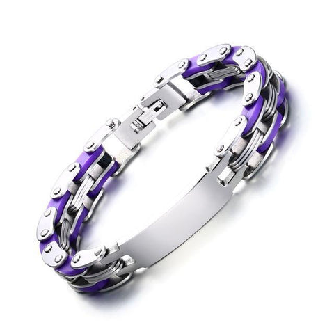 Personalized Engrave Bike Colourful Stainless Steel Chain Link Bracelets ID Bracelets Purple VNOX official store