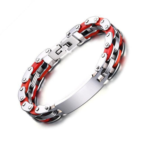 Personalized Engrave Bike Colourful Stainless Steel Chain Link Bracelets ID Bracelets Red VNOX official store