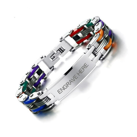 Personalized Engrave Bike Colourful Stainless Steel Chain Link Bracelets ID Bracelets VNOX official store