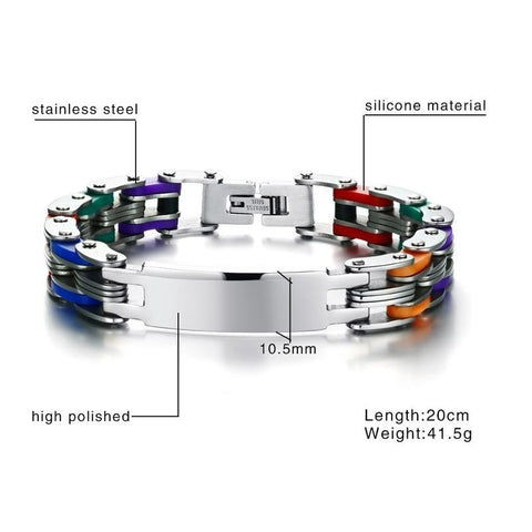 Image of Personalized Engrave Bike Colourful Stainless Steel Chain Link Bracelets ID Bracelets VNOX official store