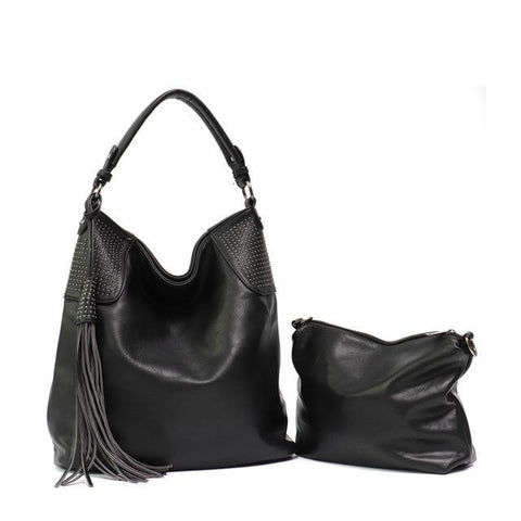 Image of PU Leather Women Hobo Large Shoulder Bag with Small Hand Bag Shoulder Bags Black MONFERE Bag Designer Store