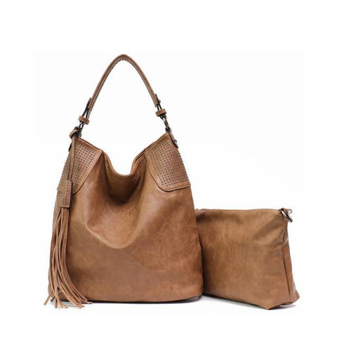 Image of PU Leather Women Hobo Large Shoulder Bag with Small Hand Bag Shoulder Bags Khaki MONFERE Bag Designer Store