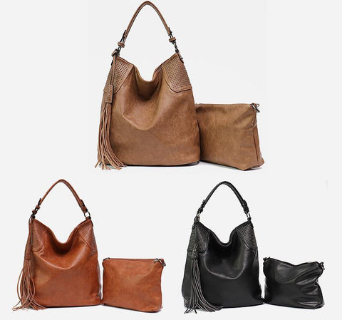 Image of PU Leather Women Hobo Large Shoulder Bag with Small Hand Bag Shoulder Bags MONFERE Bag Designer Store