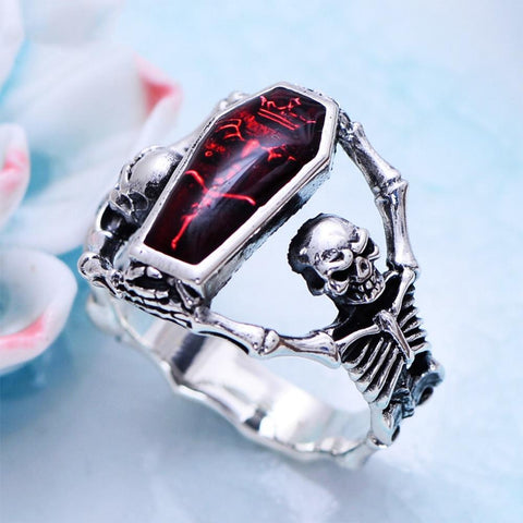 Image of Punk Bones Skull Sterling Silver Ring for Men 7